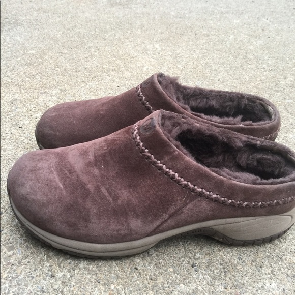 383e5e1c Women's Merrell Brown Leather Fur Lined Clogs 9M